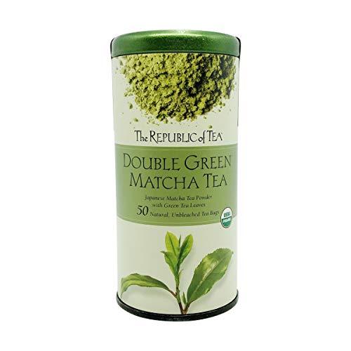 The Republic of Tea Double Green Matcha, Gourmet Blend of Organic Green Tea And Matcha Powder, 50 Count