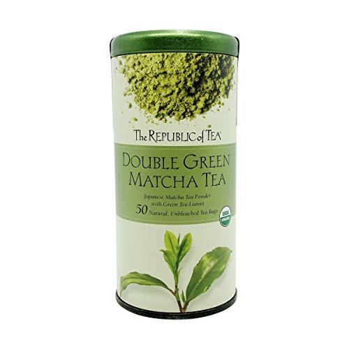 The Republic of Tea Double Green Matcha, Gourmet Blend of Organic Green Tea And Matcha Powder, 50 Count