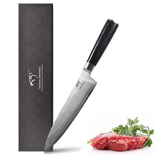 Damastmesser Kochmesser Küchenmesser Küchenmesser 20cm Profi Messer Chefmesser Allzweckmesser aus 67 Schichten Damaststahl Scharfe Messerklinge mit ergonomischer Griff