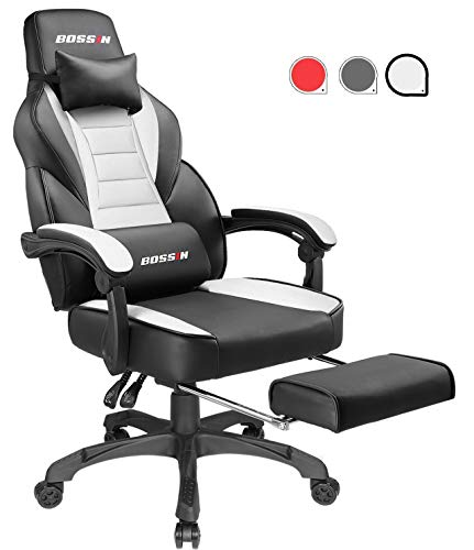 Gaming Chair Racing Style Office Ergonomic Chair High-Back PU Leather Design PC Computer Gaming Chair Adjustable Height Swivel Chair with Footrest, Headrest and Lumbar Support (White) chair gaming