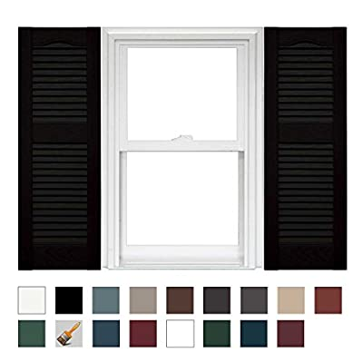 Mid America Cathedral Open Louver Vinyl Standard Shutter (1 Pair)