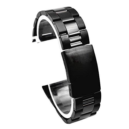 Cuitan 22mm Acero Inoxidable Correa de Reloj para Samsung Gear S3 Classic / S3 Frontier / Relojes Inteligentes con Interfaz de 22mm (No se Incluyen los Relojes), Sólido Banda Reemplazo Strap - Negro