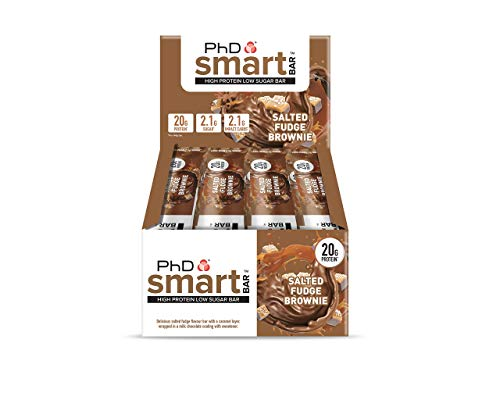 PhD Smart Bar-High Protein Low Sugar Bar, Salted Fudge Brownie, 64 g, Pack of 12