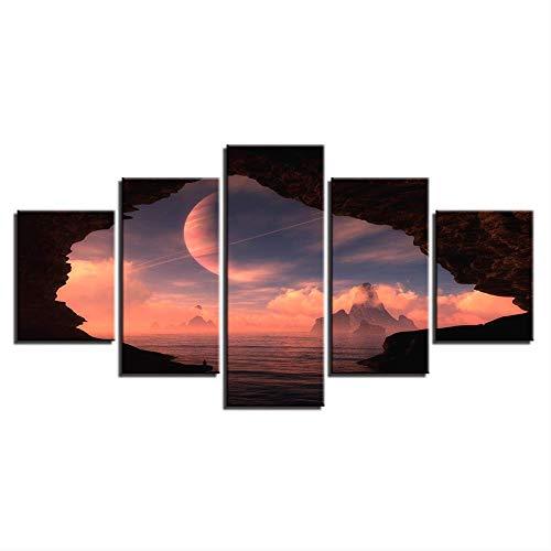 DGGDVP Cuadro en Lienzo Impresión en Alta definición Decoración Habitación Pared 5 Piezas Resumen Planeta y Sol Nube Paisaje Pintura Modular Cartel Arte Tamaño 1 con Marco