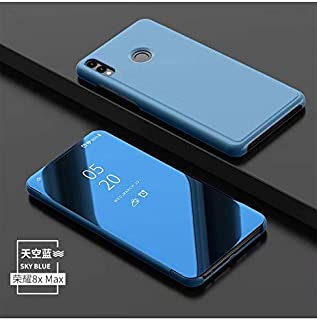 Smfu Cover Huawei Honor 8X Max,Case Mirror Design Clear View Ultra Slim Electroplate Standing Case + Tempered Glass Film 2 Pieces 360° Protective Flip Mirror for Huawei Honor 8X Max -Blue