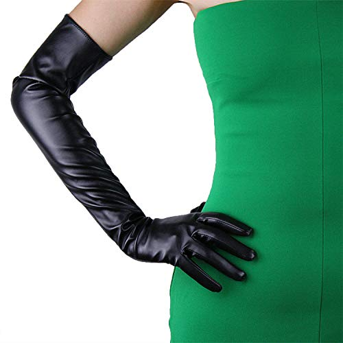 DooWay Black Opera Length Gloves 23-inch TOUCHSCREEN Faux Leather PU Unlined Full Finger Gloves