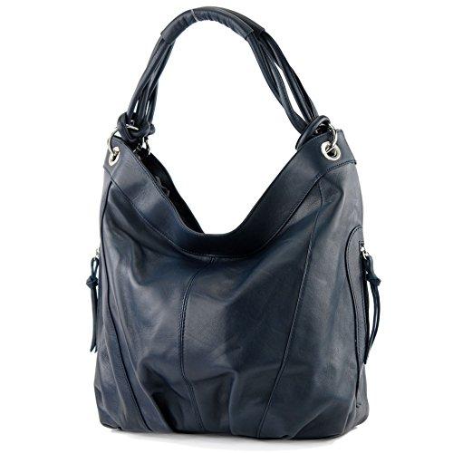 modamoda de - Z18 - ital Damenhandtasche aus Leder/Nappaleder, Farbe:Dunkelblau