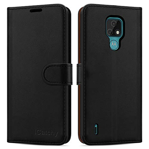 iCatchy For Motorola Moto E7 (2020) Case Leather Wallet Book Flip Folio Stand View Cover with Card Slots Compatible with Motorola Moto E7 (6.5'') Phone Cover (Black)