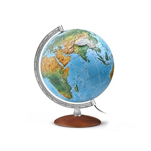 Reliefglobus FR 3010: FR3010, Leuchtglobus mit 3-D-Oberfläche, Durchm. 30 cm,klassisches Doppelbild, dunkler Echtholzfuß, Metallmeridian: Kartenbild: Physikalisch / Politisch