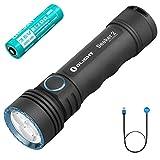 Olight Seeker 2 antorchas 3000 lúmenes 3 LED blanco frío EDC linterna USB magnética recargable potente linterna portátil con batería 21700 y estuche de pilas Tidusky