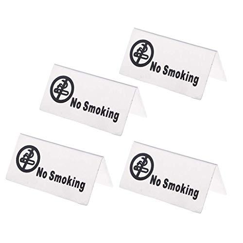 Tubayia 4 Stück Edelstahl No-Smoking Schild Nichtraucher Tischschild für Restaurant, Hotel, Büro