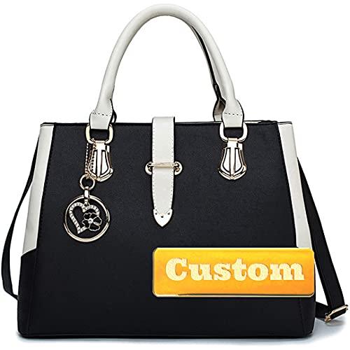 ZZMGDAM Monederos Personalizados y Bolsos de Cuero para Mujer Bolso Grande Bolsos de Cuero. (Color : Black, Size : One Size)