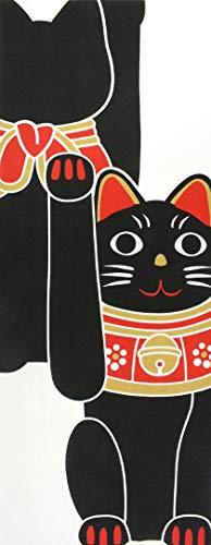 手ぬぐい 黒招き猫 福猫 捺染 片面染め 手拭い インテリア