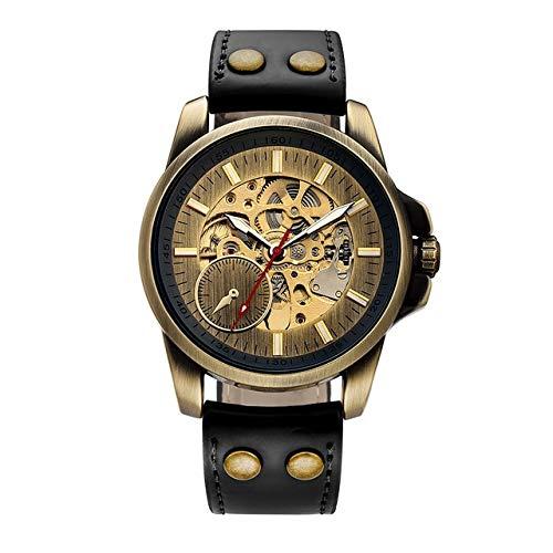 DFGHU Uhr Noble Mechanische Automatische Armbanduhr Für Männer Herrenuhr Skelettnummern Analog Ohne Batterie Leder Armbanduhren2