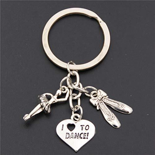 XHYKL 1 st Antiek Zilver balletdanser ballerina met dansschoenen hanger sleutelhanger hart Ik hou van bedels sleutelhanger sieraden dans