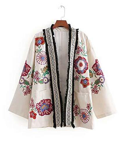 YHXMG Dames Tops Vrouwen Bloem Borduren Vest Losse Kimono Jas Dames Tassel Gesplitste Bovenkleding Jas Tops