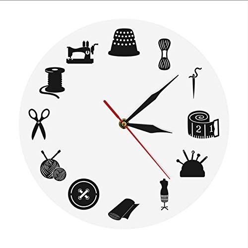 Djkaa Sala de Costura Decoración Reloj de Pared Moderno Sala de Manualidades...