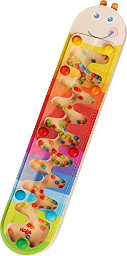 HABA 302593 - Bâton de Pluie Ver Multicolore - Labyrinthe de musique arc-en-ciel en bois pour les enfants de 2 ans et plus