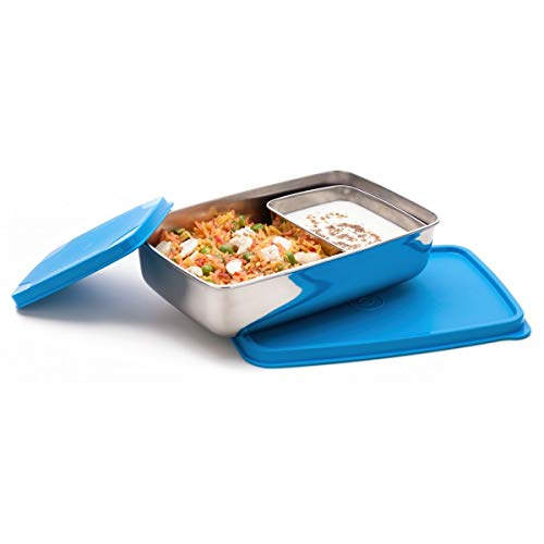 Signoraware Stainless Steel Compact Small Steel Lunch Box (150ml+550ml, Blue) - Set of 2