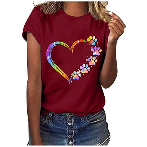 Camiseta de manga corta para mujer con estampado de corazón, cuello redondo, estilo casual, talla grande, suelta, túnica Vino XL