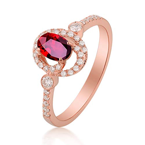 Socoz Mujer Unisex oro rosa de 18 quilates ovalada Red Ruby