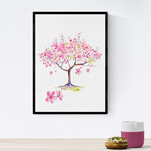 Nacnic Poster de Coronas Florales. Lámina Almendro en Flor, ilustrada con diseños de Flores, Plantas, y Animales. Decoración de Plantas y Naturaleza. Tamaño A4 con Marco