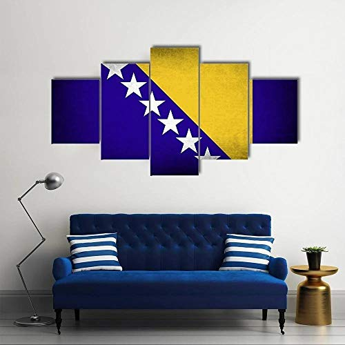 ARIE Leinwanddrucke 5 Stück Leinwand Bilder Wanddeko Wand Bosnien und Herzegowina Flagge Hd Poster Kunstwerke Malerei Weihnachten Kreative Geschenke