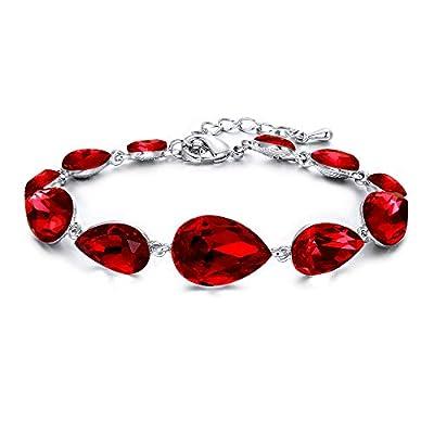 BriLove Wedding Bridal Crystal Bracelet for Women Multi Teardrop Bracelet Ruby Color Silver-Tone