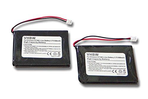 vhbw 2X Li-Ion Akku 650mAh (3.7V) für Handy Smartphone Handy Ericsson DT390 wie 660177 R1A, BKB201010/1, FA01302005, FA83601195.