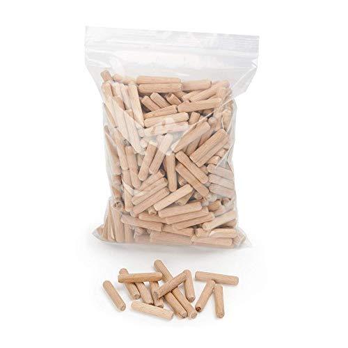 Holzdübel 8 mm x 40 mm | Riffelholzdübel 400er Packung | Dübel aus Buche | Holz Dübel 8 mm | Ideal geeignet für Dübelfräse & Lamellofräse