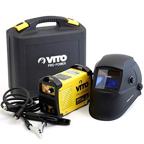 Schweißgerät Elektroden Inverter MMA 140 A Schweissgerät Vito Pro Power SET E Hand Elektroden MMA 140 A + Helm + Koffer - LED Anzeige