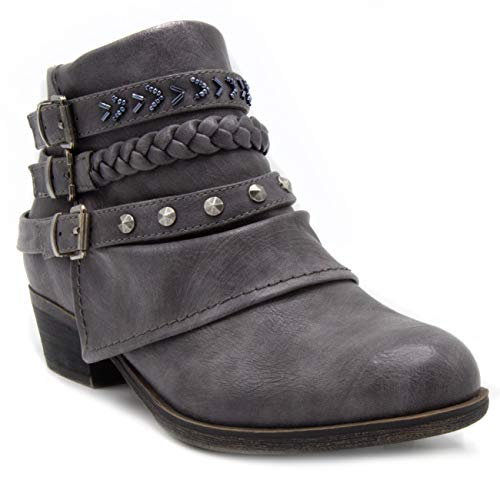 Rampage Women's Tabitha Triple Buckle Ankle Boot Ladies Side Zipper Bootie with Woven Wraparounds Studs and Overlay Charcoal 7