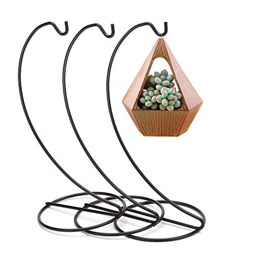 HAPYTHDA Ornament Display Stand, 3 Pack 9 inch Iron Ornament Hanging Stand Holder for Displaying Christmas Ornaments,Air Plant Terrarium, Hanging Globe Witch Ball Art Craft, Wedding Decoration,Black
