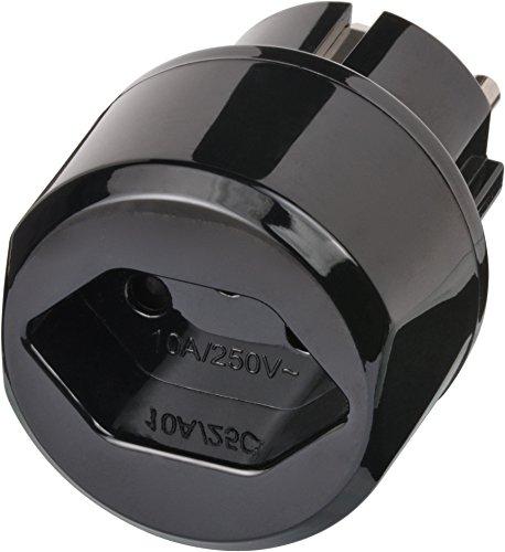 Brennenstuhl Reisestecker / Reiseadapter (Reise-Steckdosenadapter für: Euro Steckdose und Schweiz Stecker) schwarz