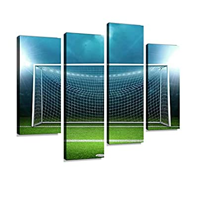 IGOONE 4 Panels Canvas Paintings - Goal Post Goal - Wall Art Modern Posters Framed Ready to Hang for Home Wall Decor