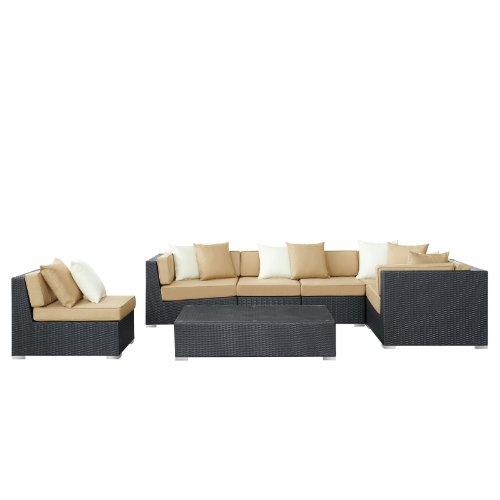 lexmod patio furniture sets LexMod Dreamscape Outdoor Wicker Patio 7-Piece Sectional Sofa Set, Espresso Mocha