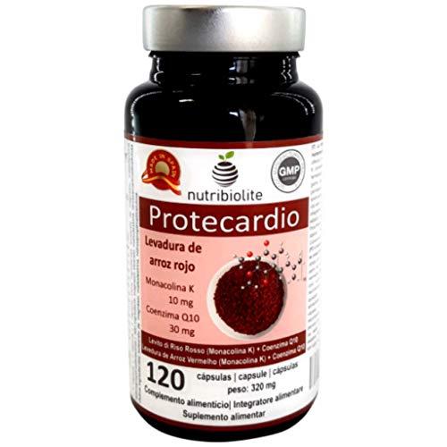 Protecardio - Gefermenteerde rode rijst met Monacolin K (10 mg per capsule) + Co-enzym Q10 (30 mg per capsule), ondersteunt een gezond hart- en cholesterolgehalte, 120 capsules - 4 maanden behandeling, veganistisch