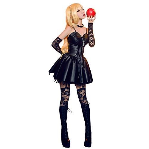 Misa Amane Cosplay Costume, Death Note Dress Full Set Uniform Women Halloween Accessories Leather Skirt