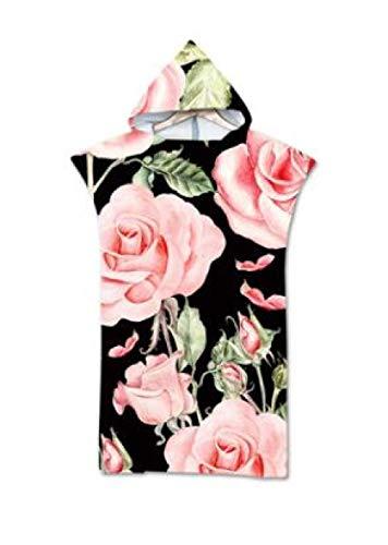 LUOY Handtuch Poncho Mit Kapuze,Mikrofaser 3D Doppelseitig Rosa Rose Vintage-Druck Gemütlich Schnelltrocknender Bademantel Outdoor Beachwear Schwimmen Neoprenanzug Unisex Leichte Robe