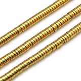 Cheriswely, 390 pezzi di perline piatte rotonde da 4 mm, in metallo dorato, non magnetiche, ematite sintetiche, per creare gioielli