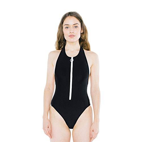 American Apparel Women's Nylon Tricot Zip Up Sleeveless One Piece, Black, Large