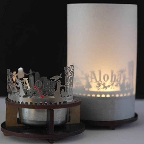 13gramm Hawaii-Skyline Windlicht Schattenspiel Premium Geschenk-Box Souvenir, inkl. Kerzenhalter, Kerze, Projektionsschirm und Teelicht