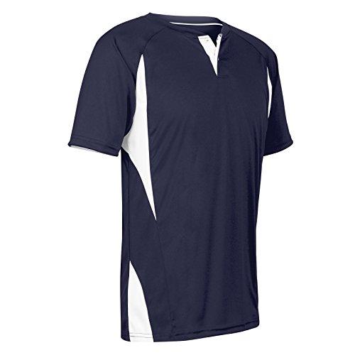 Champro Herren BS63ANYWXL Wild Card Baseball-/Softball-Trikot aus Polyester mit 2 Knöpfen, Marineblau, Weiß, X-Large