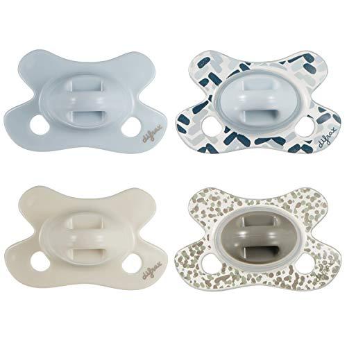 Difrax Natural Baby-Schnuller Neugeborene, 4er Set mit Silikonsauger, Gute Akzeptanz, Optimale Luftzufuhr, Angenehm - River, Ice, Mist & Popcorn