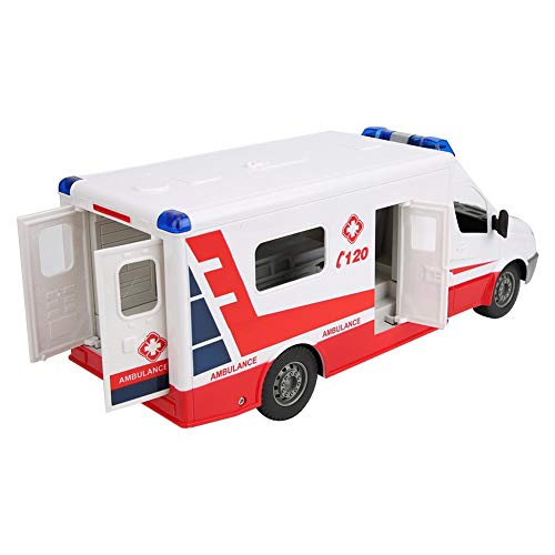 Zouminy RC Car Model Remote Control High Simulation Ambulance Rechargeable 1:18 Scale RC Car Model Toy(Red)
