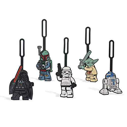 LEGO Star Wars Luggage Bag Tag 5 Pack Assortment - Includes Darth Vader, Boba Fett, Stormtrooper, Yoda, and R2-D2