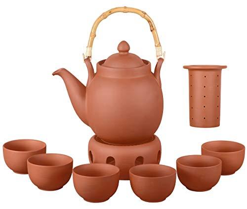 Aricola Ton Teeservice Tenno 8-teilig. Bestehend aus Ton Teekanne 1,6 Liter, Stövchen und 6 Tontassen. Handgefertigt, Original