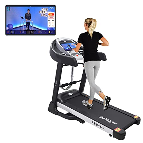 Fitkit FT200MX (4.5HP Peak) DC-Motorised Treadmill ( Max Speed:14km/hr, Incline: Auto, Max Weight: 110 Kg ) With Free Home Installation and Connected Live Interactive Sessions by Onefitplus