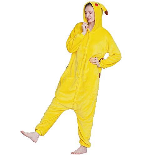 Pikachu Animal Onesies Pajamas Sleepwear, Unisex Adult One-Piece Pajamas Cosplay Onesies Christmas Halloween Costume Yellow