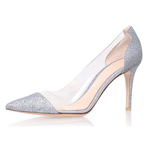 Kolnoo 80mm Durchsichtig Plexi Damenschuhe Pumps,Spitz Toe Slip-ons Pfennigabsatz Schuhe Größe EU43